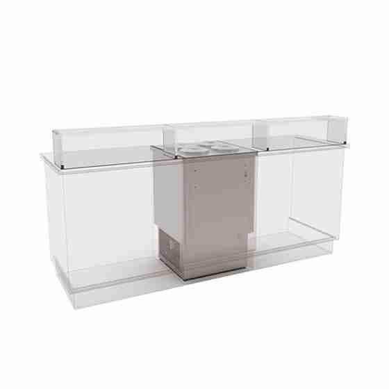 Banco gelati a pozzetto grezzo in acciaio inox refrigerazione statica 4 pozzetti 146 lt 740x715x1117h mm