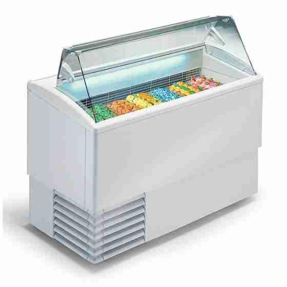 Banco gelati a refrigerazione statica 7 gusti vetri dritti 1354x800x1176h mm