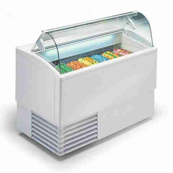 Banco gelati a refrigerazione statica 7 gusti vetri curvi 1354x800x1176h mm