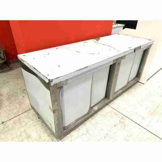Tavolo armadiato in acciaio inox 200x70 cm con graffi e difetti da trasporto