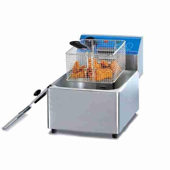Friggitrice elettrica professionale da banco senza rubinetto di scarico una 1 vasca 8 litri
