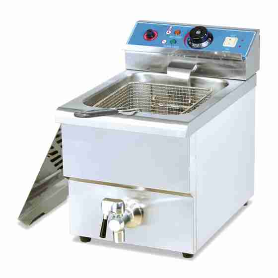 Friggitrice elettrica professionale da banco con rubinetto di scarico una 1 vasca 12 litri