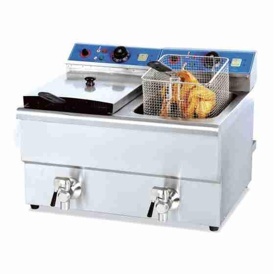 Friggitrice elettrica professionale da banco con rubinetto di scarico due 2 vasche 10 + 10 litri