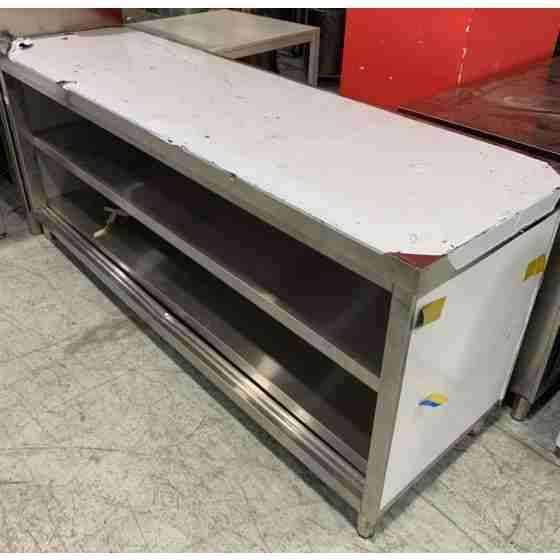 Tavolo a giorno in acciaio inox con 2 ripiani profondità 600 mm 2000x600 mm linea silver nuovo danneggiamento da trasporto