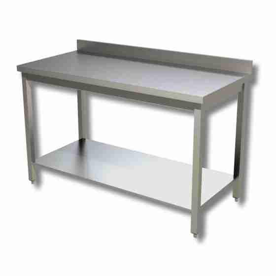 Tavolo su gambe in acciaio inox con piano di fondo e alzatina profondità 700 mm 700x700 mm