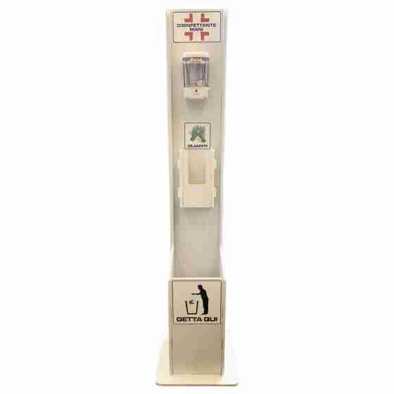 Colonnina piantana Dispenser 3 in 1 con dispenser automatico ad infrarossi da 700 ml, porta guanti e pattumiera
