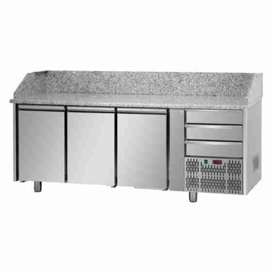 Tavolo Refrigerato Pizza GN 1/1 con 3 porte, 3 cassetti neutri e piano in granito