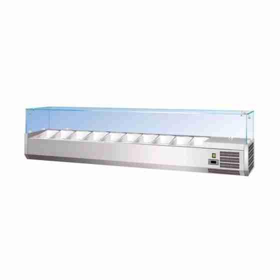 Vetrina Refrigerata per vaschette da 1/3 con vetri piani prodondità 38 cm- 1800x380x400h mm CAP. 8 GN1/3