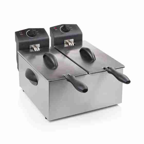 Friggitrice elettrica doppia in acciaio inox professionale capacità 3+3 lt