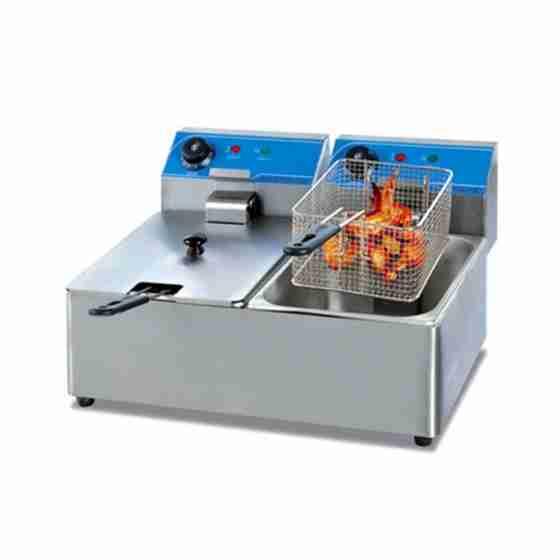 Friggitrice elettrica professionale da banco senza rubinetto di scarico due 2 vasche 8 + 8 litri