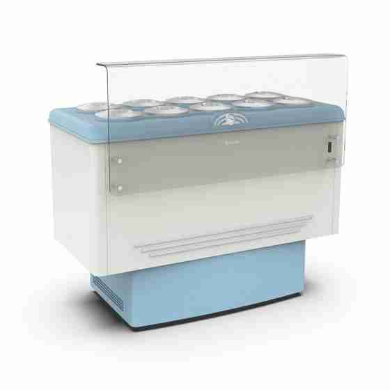 Banco gelati refrigerazione statica 10 pozzetti 1435x713x1030h mm
