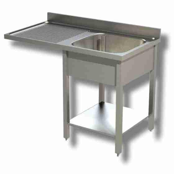 Lavello / lavatoio 1 vasca in acciaio inox su fianchi con vano lavastoviglie sx 1200x600x850h mm