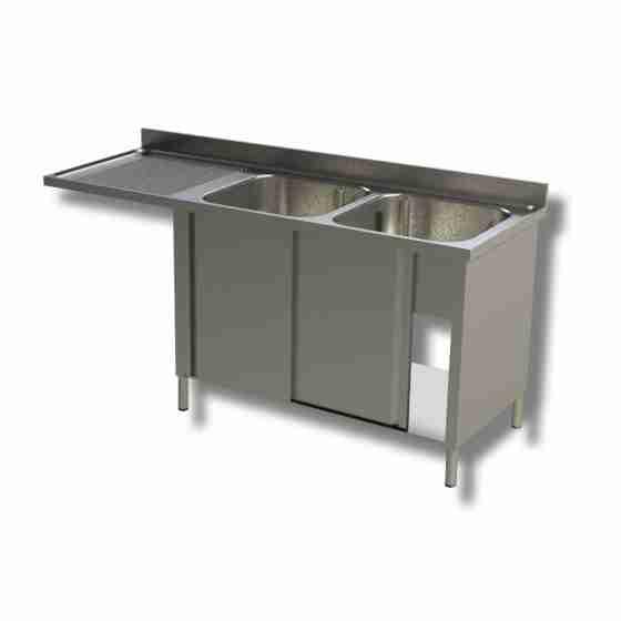 Lavello / lavatoio a 2 vasche in acciaio inox armadiato con vano lavastoviglie sx 1800x600x850h mm
