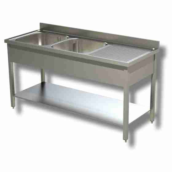 Lavello 2 Vasche 140x60 cm Sgocciolatoio Destra