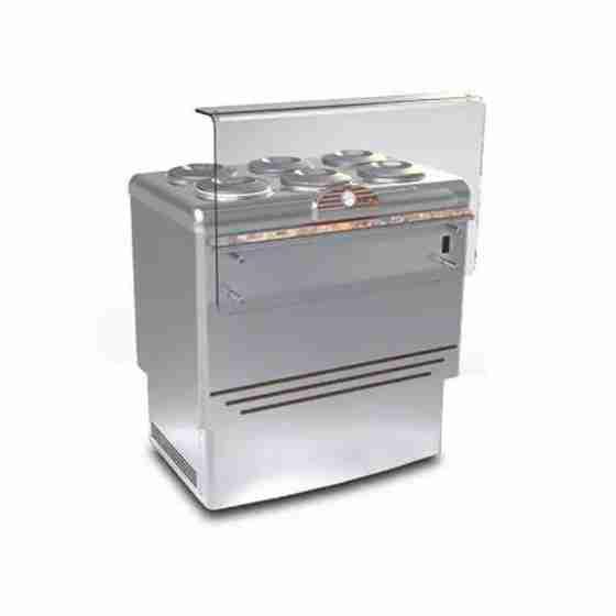 Banco gelati refrigerazione statica in acciaio inox 6 pozzetti 965x758x1030h mm