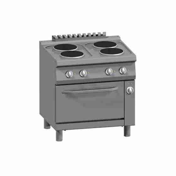 Cucina 4 Piastre Elettriche + Forno Elettrico Statico 2/1 GN