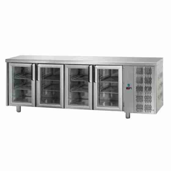 Tavolo Refrigerato GN 1/1 con 4 porte in vetro