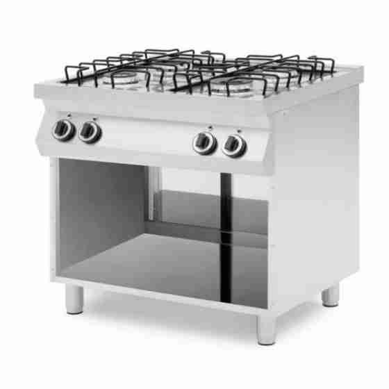 Cucina professionale a gas 4 fuochi con vano aperto potenza fuochi 17 kW