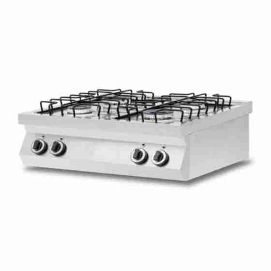 Cucina a Gas 4 fuochi da banco in acciaio inox AISI 304 potenza totale  fuochi 17 kW
