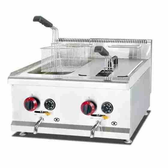 Friggitrice a Gas da banco 2 vasche professionale 14+14 litri in acciaio inox