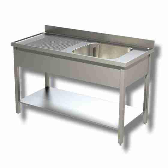 Lavello / lavatoio in acciaio inox 1 vasca con ripiano e sgocciolatoio sx profondità 700 mm 1400x700x850h mm