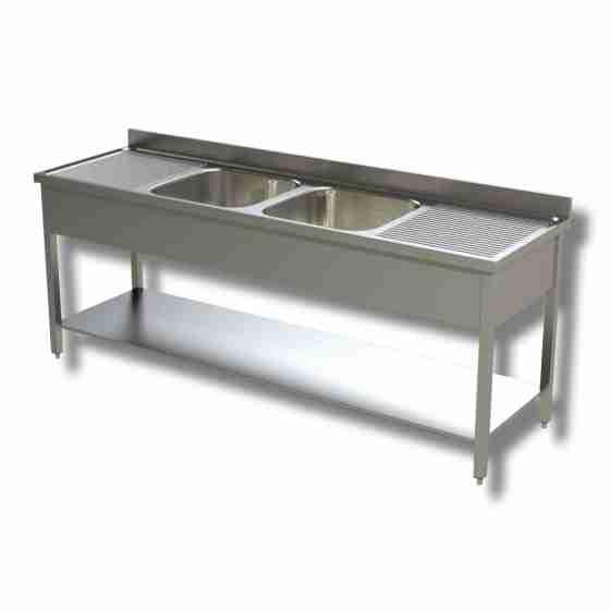Lavello / lavatoio in acciaio inox 2 vasche con 2 sgocciolatoi, ripiano e alzatina profondità 600 mm 2000x600x850h mm