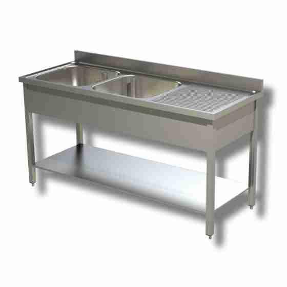 Lavello/Lavatoio in Acciaio Inox 2 Vasche con Sgocciolatoio a Destra, ripiano e alzatina 160x60x85h cm