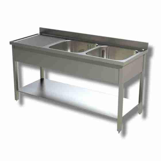 Lavello/Lavatoio in Acciaio Inox 2 Vasche con Sgocciolatoio a Sinistra, ripiano e alzatina 150x60x85h cm