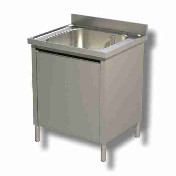 Lavello / lavatoio in acciaio inox armadiato 1 vasca profondità 700 mm 700x700x850h mm