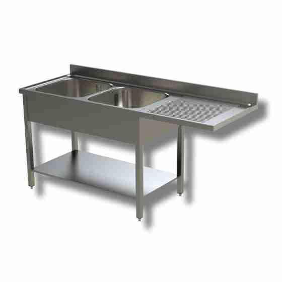 Lavello / lavatoio 2 vasche in acciaio inox con vano lavastoviglie dx 1800x700x850h mm