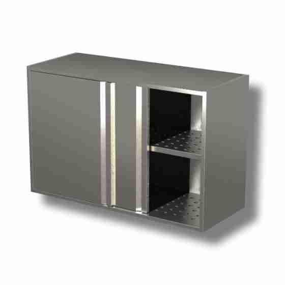 Pensili in acciaio inox con porte scorrevoli e sgocciolatoio altezza 65 cm-Pensile 140x40x65h cm porte scorrevoli e sgocciolatoio