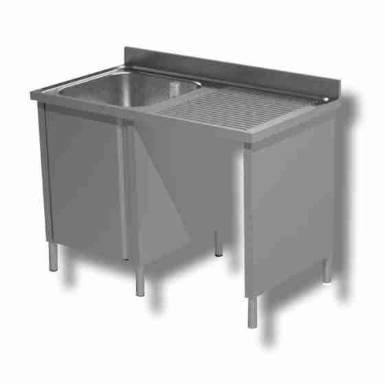 Lavello / lavatoio 1 vasca in acciaio inox armadiato con vano pattumiera dx 1400x700x850h mm