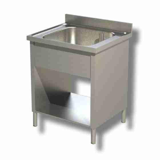 Lavello / lavatoio in acciaio inox 1 vasca su fianchi con ripiano e alzatina profondità 700 mm 600x700x850h mm