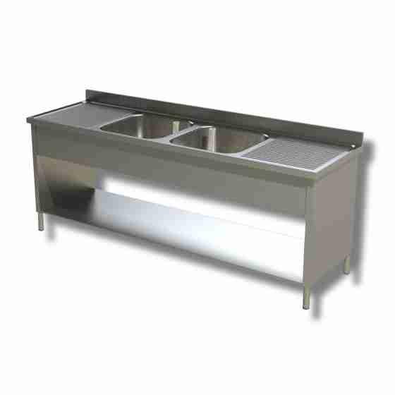 Lavello / lavatoio in acciaio inox su fianchi con 2 vasche e 2 sgocciolatoi profondità 600 mm 2000x600x850h mm