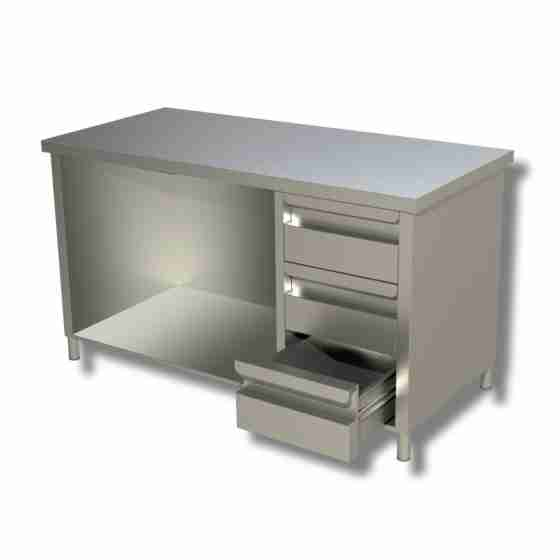 Tavolo in acciaio inox a giorno con 3 cassetti a dx profondità 600 mm 1000x600x850h mm