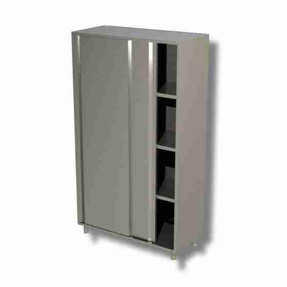 Armadio in acciaio inox con porte scorrevoli profondità 50 cm 110x50x150h cm