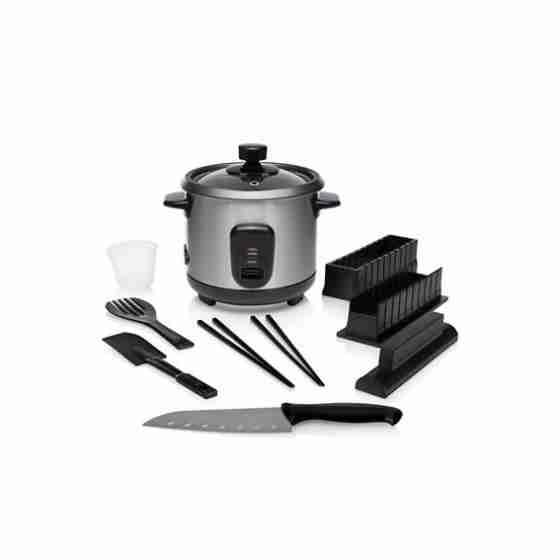 Cuociriso elettrico in acciaio inox capacità 0,6 L + kit set sushi