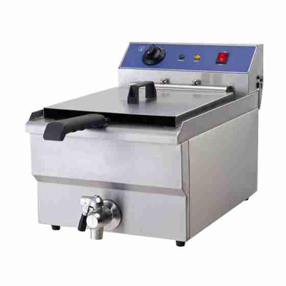 Friggitrice Elettrica professionale singola vasca in acciaio inox per Pub Bar Ristoranti da banco 19 litri - 380 Volt