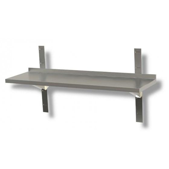Mensola a parete liscia in acciaio inox profondità 30 cm 110x30x4h cm