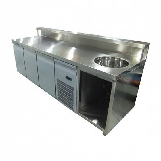Banco bar espositore refrigerato con lavabo a destra e for Banchi bar e arredamenti completi