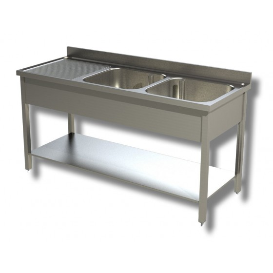 Lavello / lavatoio in acciaio Inox 2 vasche con sgocciolatoio a sx, ripiano  e alzatina 1500x600x850h mm