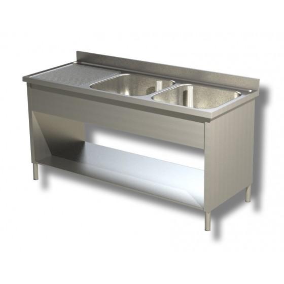 Lavello / lavatoio in acciaio inox 2 vasche con ...