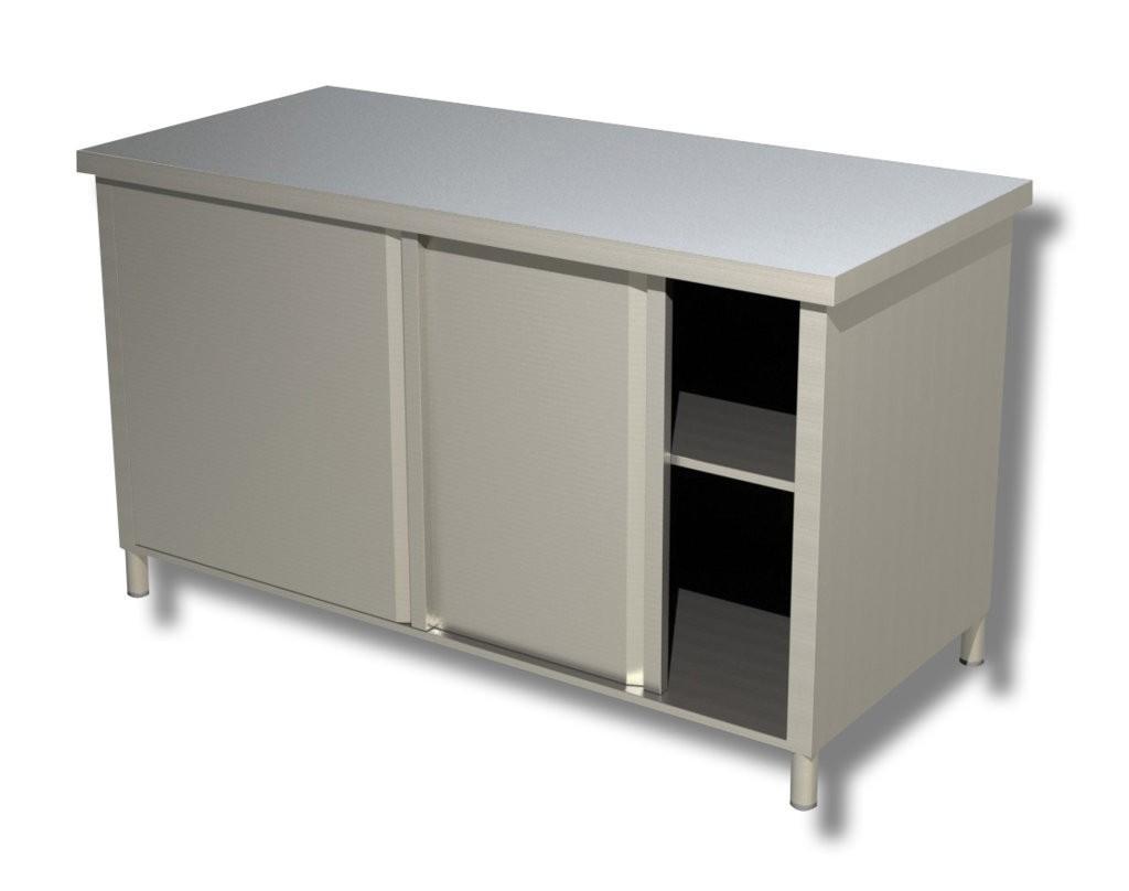 Tavolo armadiato in acciaio inox 150x60 cm tavolo for Arredamenti low cost