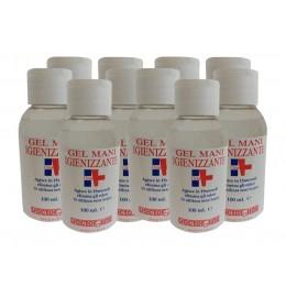 10 x Gel idroalcolico 100 ml Igienizzante mani contro virus e batteri senza risciacquo