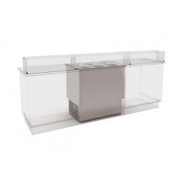 Banco gelati a pozzetto grezzo in acciaio inox refrigerazione statica 6 pozzetti 240 lt 1045x715x1117h mm