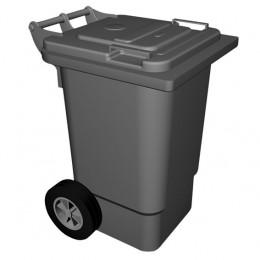 Pattumiera in plastica carrellata, cap 60lt su ruote 47x55x67h cm