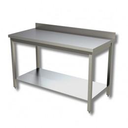 Tavolo Acciaio INOX con Ripiano e Alzatina 190x70 cm gambe quadre