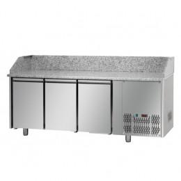 Tavolo Refrigerato Pizza GN 1/1 con 3 porte e piano in granito