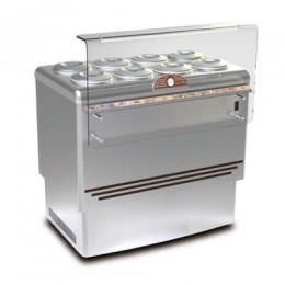 Banco gelati refrigerazione statica in acciaio inox 8 pozzetti 1105x807x1030 h mm