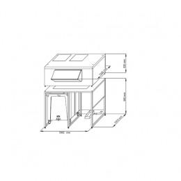 Contenitore ghiaccio capacità carrello 108 kg x 2 capacità riserva 300 kg 1560x1330x1780 mm